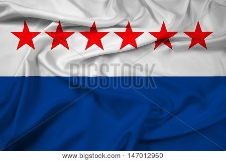 Waving Flag Of Sao Joao Da Barra, Rio De Janeiro State, Brazil