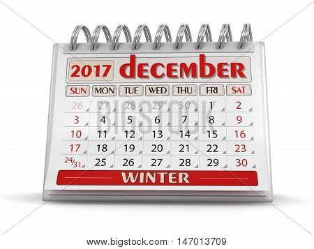 3D Illustration. White, Isolated, Calendar, december, 2017, Three-dimensional Shape, Year, Month, Time, render, cutout