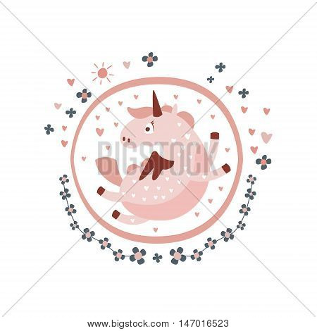 Pegasus Fairy Tale Character Girly Sticker In Round Frame In Childish Simple Design Isolated On White Background