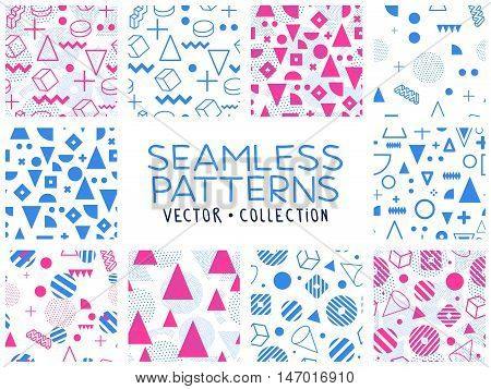Geometric memphis seamless isolated patterns in set for fashion and . Universal colorful decorative fun background. Blue pink colors