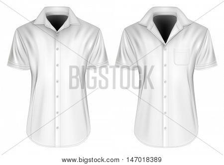 Men's short sleeved formal button down shirt. Fully editable handmade mesh, Vector illustration.