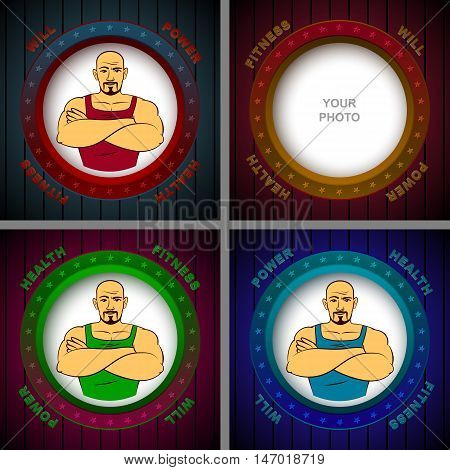 Athlete in the photo frame with the words of Will Power Fitness Health; Vector set backgrounds Eps8