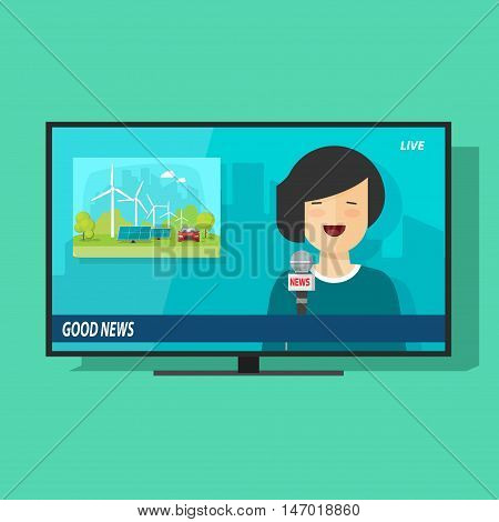 Good TV news vector illustration, flat cartoon television news studio with happy smiling woman reporter broadcasting good news