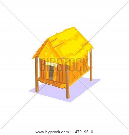 Elevated Wooden House Jungle Village Landscape Element. Cool Colorful Vector Illustration In Stylized Geometric Cartoon Design