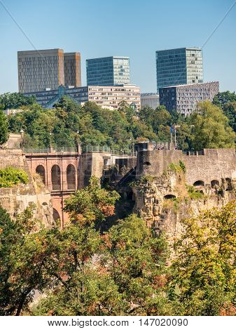 Luxemburg old medieval city with surrounding walls