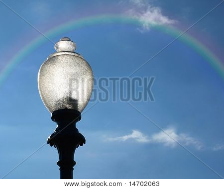 Lamppost with Rainbow