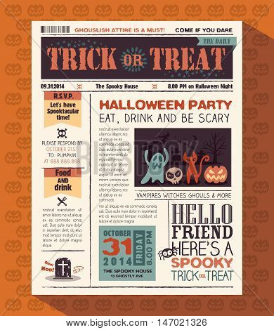 Happy Halloween Party Card Vector Design Layout In Newspaper Style