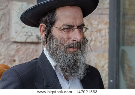 Orthodox Jewish Man Walk In Jewish .quarter. Jerusalem. Israel