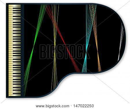 A large grand piano with lazer light beams reflected on the lid