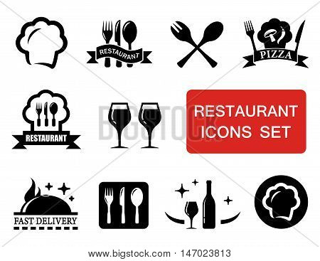 set of isolated black restaurant icon with red signboard