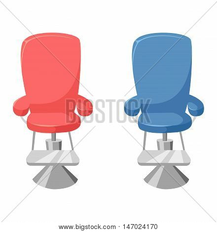 Vector barber chair on white background. Hairdressing interior old elegance equipment hairdresser barber chair. Furniture seat design hairdresser barber chair beauty barbershop equipment.