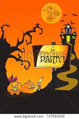 Hand Drawn Halloween 'The Spooktaculous Party ever' Poster Concept. Use it like posters, flyers, promos, cards, banners, invitations, placards, pamphlets - vector