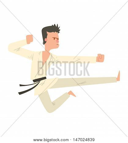 Fighter karate man kick punch grab throw body vector. Athlete training martial karate fighter people symbol character. Fighter man strong gym kick body. Fight karate people