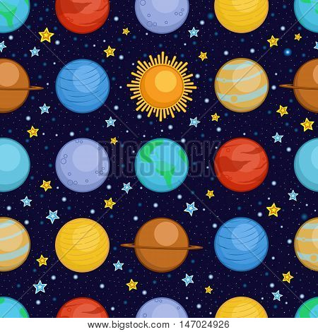 Planets of solar system in space, cartoon style seamless pattern, vector illustration. Sun, Mercury, Venus, Earth, Mars, Saturn, Jupiter, Uranus, Neptune cute cartoon planets as a seamless background