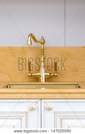 Vintage Gold Polished Kitchen Faucet