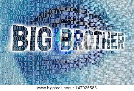 Big Brother eye with matrix looks at viewer concept.