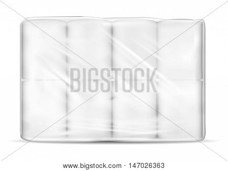 Transparent empty plastic packaging with toilet paper.