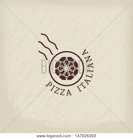 Pizzeria logo template with text Italian pizza in Italian. Vector emblems for restaurants, cafe, Italian Cuisine or pizza delivery