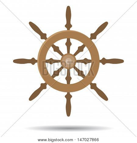 Steering vessel wooden. Steering wheel for ship. Vector illustration