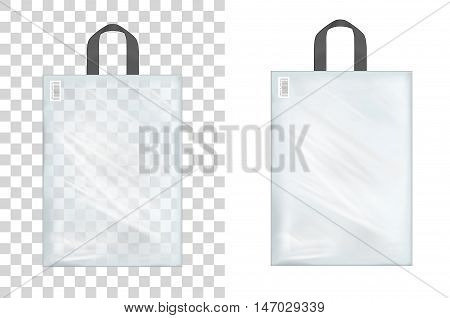 Transparent plastic shopping bag with with handle.