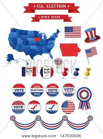 US Presidential Election 2016 Iowa State. Including High Detailed Map of Iowa Perfect for Election Campaign