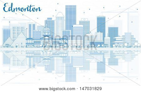 Outline Edmonton Skyline with Blue Buildings and Reflections. Vector Illustration. Business Travel and Tourism Concept with Modern Buildings. Image for Presentation Banner Placard and Web Site.