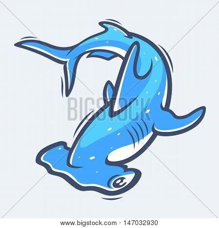 Hammerhead shark underwater sea life vector illustration