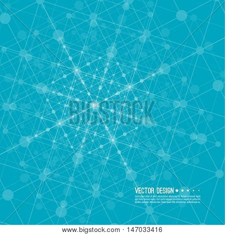 Virtual abstract background with particle, molecule structure. Wireframe Mesh figure. Regular geometric shapes. Digital Data Visualization. Vector Illustration. Connection dot and line
