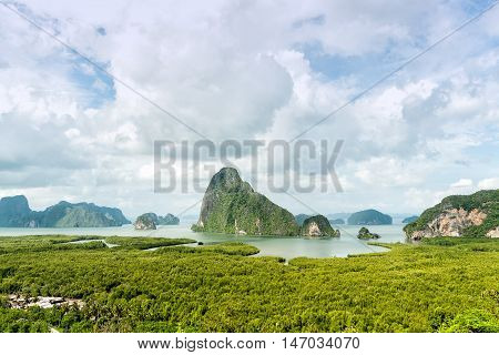 Sa-met-nang-shee view point.The most famous mountain Andaman sea and forest view point in Phang Nga provinceThailand