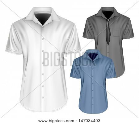 Men's short sleeved formal button down shirts  with and without neckties. Fully editable handmade mesh, Vector illustration.