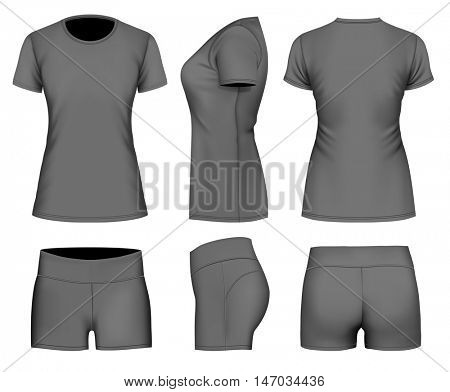 Women's t-shirt short sleeve and sport shorts. Fully editable handmade mesh. Vector illustration.