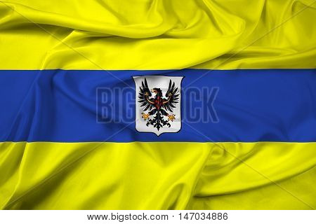 Waving Flag Of Trento With Coat Of Arms, Italy