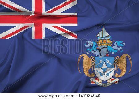Waving Flag Of Tristan Da Cunha (part Of Saint Helena, Ascension And Tristan Da Cunha)