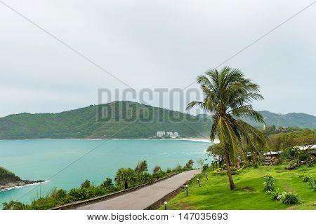 Phromthep cape viewpoint with cloudy sky and sea. Phuket island Thailand.
