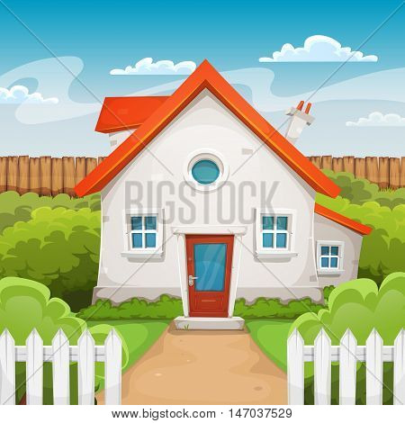 Illustration of a cartoon domestic house in spring or summer season with backyard garden grass fence and hedges
