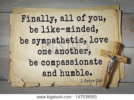 TOP-150 Bible Verses about Love.Finally, all of you, be like-minded, be sympathetic, love one another, be compassionate and humble.