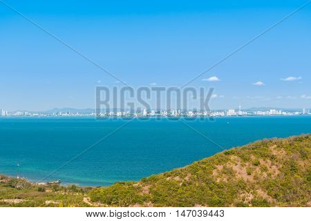 Aerial view seascape and Pattaya city Thailand.