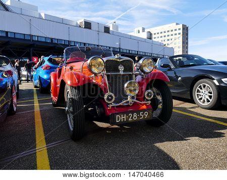 Amsterdam, The Netherlands - September 10, 2016: Red Singer Le Mans Special Speed 1935 On Display Du