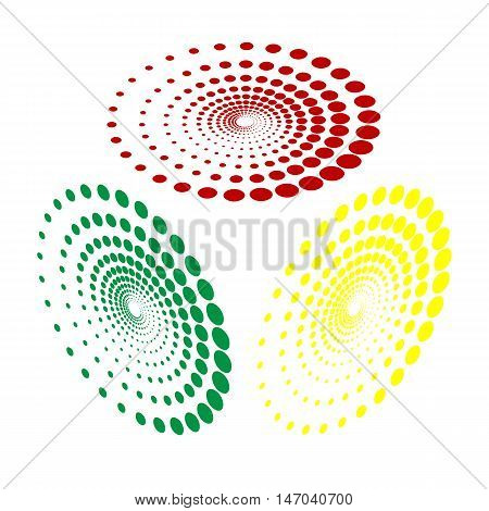 Abstract Technology Circles Sign. Isometric Style Of Red, Green And Yellow Icon.