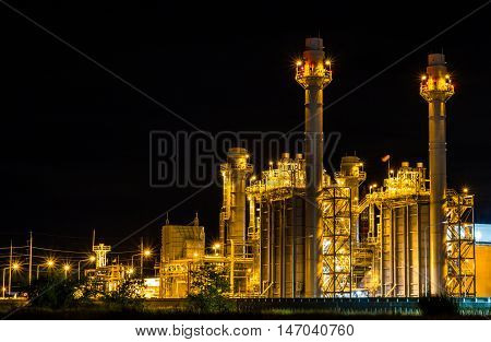 Gas turbine electrical power plant at dusk