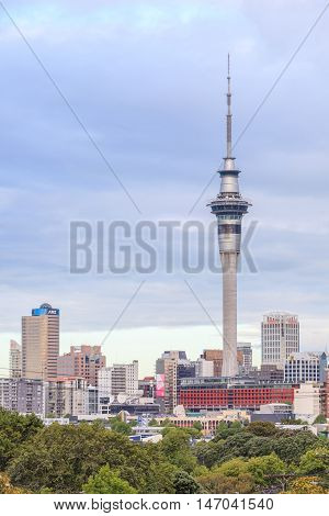 Auckland New Zealand- December 9 2013. Auckland sky tower is the tallest structure in Southern Hemisphere by 328 metres.