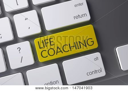 Life Coaching Concept: White Keyboard with Life Coaching, Selected Focus on Yellow Enter Keypad. 3D Render.