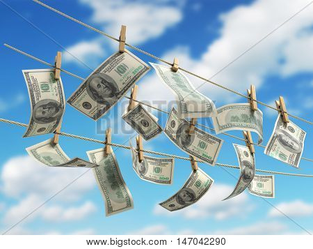 Concept Of Money Laundering Dollar Money Bills On Roupe 3D Ender