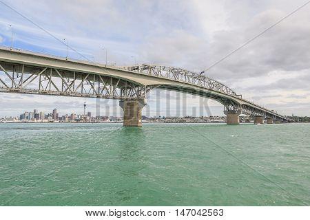 Auckland New Zealand- December 10 2013. Auckland Harbor Bridge.
