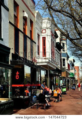 Washington, DC: Restored buildings now house cafes and shops along Pennsylvania Avenue SE in the Capitol Hill Historic District