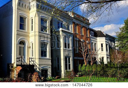 Washington DC - April 9 2014: Handsomely restored homes on East Capitol Street in the Capitol Hill East historic district *