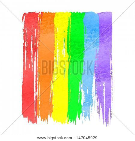 Rainbow flag as symbol of lgbt gay pride. Vector watercolor hand drawn paint stroke brushes  on white background. Rainbow spectrum