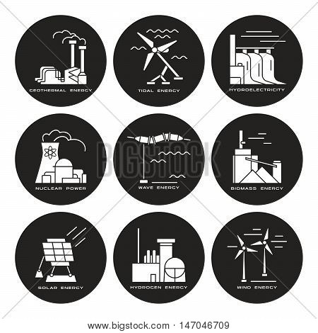 Stock vector set of web icons on electricity generation plants and sources
