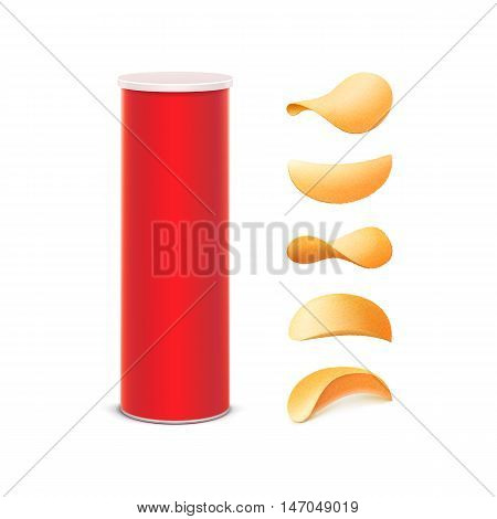 Vector Set of Red Tin Box Container Tube for Package Design with Potato Crispy Chips of Different Shapes Close up Isolated on White Background