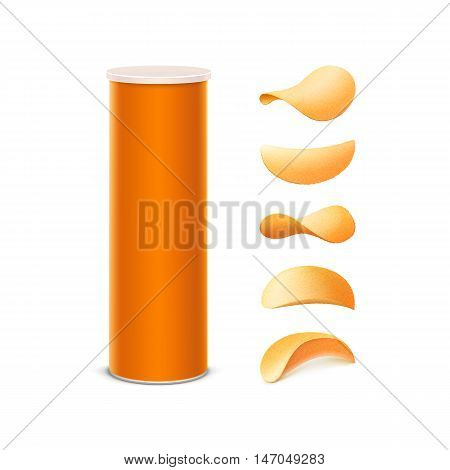 Vector Set of Orange Tin Box Container Tube for Package Design with Potato Crispy Chips of Different Shapes Close up Isolated on White Background
